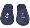 Terry Cloth Anchor Embroidered Slippers