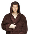 Mens Hooded Fleece Bathrobe