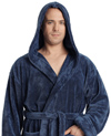 Mens Sateen Fleece Hooded Bathrobe