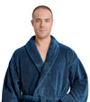 Mens Sateen Fleece Shawl Bathrobe