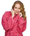Shawl Fleece Heart Design Bathrobe