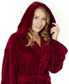 Womens Hooded Fleece Bathrobe