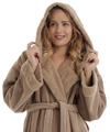 Womens Hooded Sherpa Trim Sheepskin Look Bathrobe
